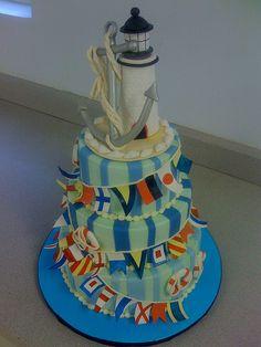Anchor, lighthouse cake with #nautical flags http://www.SFBayHomes.com #sfbayhomes.com