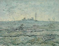 Vincent van Gogh - Snow-Covered Field with a Harrow (After Millet), 1890