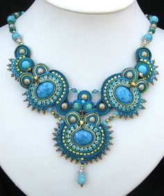 Blue Soutache necklace