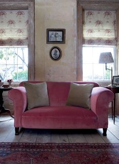 Red Velvet Sofa With Mole Velvet Cushions And Isobella Blinds   Kate Forman
