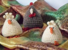 """This crochet pattern is for a cute hen and chicks to brighten up your table or kitchen. Ideal for Spring decor or an Easter gift. Hen and chicks could also be used as juggling balls.  This is an American version of the pattern.  The chicken and chick are made using the same pattern. The main difference is the thickness of yarn, hook size and decorative details.  The chicken is approx 6cm (2½"""") high using sport/light worsted (DK) yarn The chicks are approx 5cm (2"""") high using fingering (4..."""