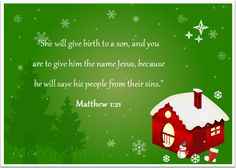 Religious Christmas card with Bible verse.