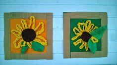 2A-luokka loihti viime vuonna auringonkukkatauluja trikookuteesta. Silmukkaketju koottiin rautalangalla yhteen pieneksi ympyräksi ja pääl...