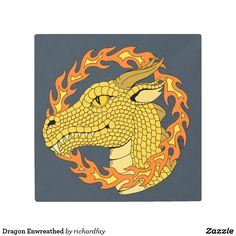 Dragon Enwreathed Metal Print.  40% Off with code ZAZZLEDESIGN Offer is valid through August 4, 2017, 11:59 PM PT.  #Zazzle #metal_print #metal_art #metal_art #dragon #gold_dragon #golden_dragon #dragon_profile #dragon_head
