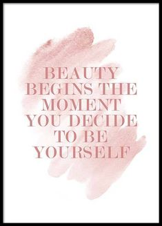 "Poster mit Zitat in Rosa. Dieses Typografie-Poster mit dem Text ""Beauty begins the moment you decide..."
