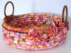 Bohemian coiled fabric basket- I like the handles and embellishments on this… Rope Basket, Basket Weaving, Pom Pom Flowers, Fabric Flowers, Basket Crafts, Fabric Bowls, Rope Crafts, Sewing Baskets, Fabric Strips