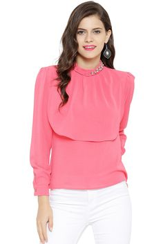 2e40b6f7909f Buy Sassafras Pink Polyester Georgette Chinese Collar Embellished Top online