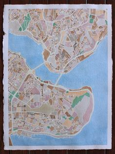 Lauren Wargo ‏@Wargo_Lauren: Map of downtown Istanbul fini! Explore more at: http://www.contour.es  #watercolor #cartography #maps #wanderlust