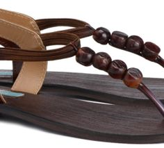 brown faux leather flat sandals