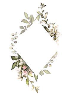 H746A (9) Motif Floral, Floral Border, Floral Prints, Watercolor Background, Watercolor Flowers, Watercolor Paintings, Flower Frame, Botanical Illustration, Wedding Cards