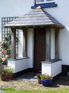 Home and Garden Porch Uk, Porch And Terrace, House Front Porch, Front Porch Design, Side Porch, Bungalow Porch, Bungalow Exterior, Cottage Front Doors, Patio