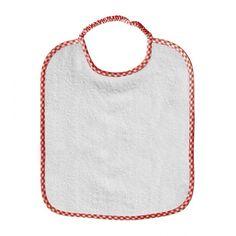 """Bavaglino asilo """"Semplice"""", con Elastico collo (28x33 cm, con bordo a quadretti in vari colori, lo trovi qui: http://www.coccobaby.com/prodotto/set-asilo/bavaglini-con-elastico/786/bavaglino-asilo,-semplice-bianco"""