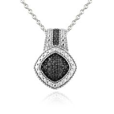 DB Designs Rhodium-plated 1/10ct TDW Black Diamond Necklace, Women's, Size: 18 Inch, Two-Tone