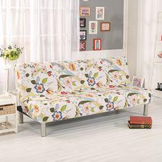 Folding Sofa Covers Elastic No-Armrest Sofa Covers Couch Cover For Sofa Bed Cover For Couch Flowers And Birds V20