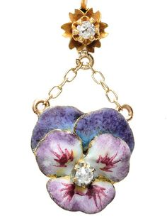Images of Antique Purple Pansy Enamel Earrings - The Three Graces
