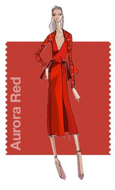 Swatch by Bibhu Mohapatra showcasing Pantone's Aurora Red Pantone Red, Pantone 2016, Pantone Color, Teal Shoes, Lilac Grey, Fashion Design Sketches, Winter Colors, Shades Of Red, Fashion Colours