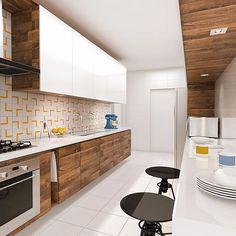Perspectiva dessa cozinha com toques de amarelo e você ainda pode combinar com os acessórios da Blukit. Acesse: http://www.blukit.com.br/categoria/linha/cozinha