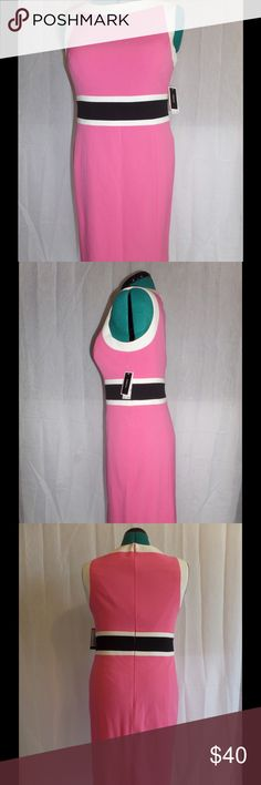 Nine West Pink Sheath Dress Boss Babe! Classy pink Nine West sheath dress with black and white panel across waist. NWT. Size 8. Add a blazer and heels to walk the office runway or dress it down with flats or sandals for a more relaxed look. Lined inside with great structure. 34 inches long from shoulder. Nine West Dresses