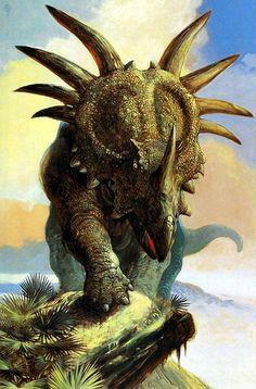 Styracosaurus by William Stout Jurassic World Dinosaurs, Prehistoric Dinosaurs, Prehistoric World, Dinosaur Fossils, Dinosaur Art, Prehistoric Creatures, Jurassic Park, Dinosaur Illustration, Dinosaur Pictures