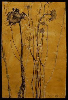 "Helen Gotlib(American) Fall VI Pen, ink and gouache on white paper 20""x30"" via more"