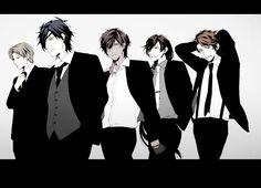 touken ranbu suits - Anime, Pixiv Id 5083840, Touken Ranbu, Izumi no Kami Kanesada, Ookurikara, Mutsunokami Yoshiyuki, Heshikiri Hasebe