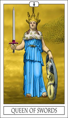 The Queen of Swords is the card of emotional intelligence, represented by Athena Parthenos. Athena was birthed from the head of Zeus, connecting her with the masculine idea of action and intelligence. Her feminine form connects her with emotions, so in the queen of swords is a powerful combination of intelligence and emotion.