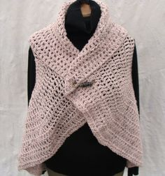 Crocheted Soft Pink Women' s Circular Vest or C... - Folksy