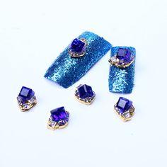 10Pcs 3D Golden Plated Sapphire Crystal DIY Nail Art by NYnail