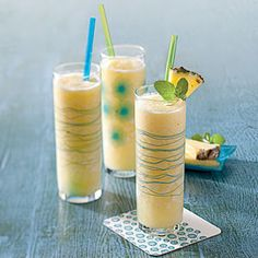 Pina colada, virgin 1/2 c fresh pineapple, chopped small 1/2 c pineapple juice 3 T lime juice, fresh squeezed 6 T cream of coconut Blend with 3 c chopped ice