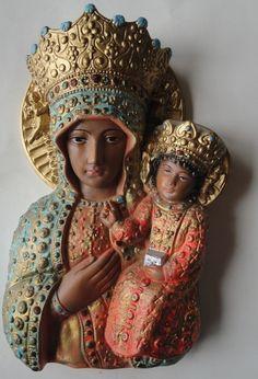 Our Lady of Czestochowa, Poland. Chalkware.