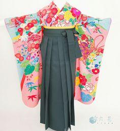 アンティーク着物の袴コーディネート ジュニアサイズ 小学校卒業式