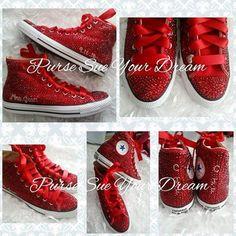 Swarovski Crystal Rhinestone Ruby Red Converse Shoes | Etsy
