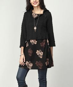 Loving this Black Cable Knit & Floral Shawl Collar Contrast Tunic on #zulily! #zulilyfinds