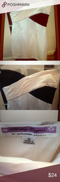 """Hailey Logan/ADRIANNA PAPELL Sequin Dress. X-Small Gently worn. No stains, rips, or odors. Black Sequin. Off White. Strapless. Fully lined. Invisible back zipper closure. Arm to arm about 14.5"""". Length down back about 24"""". ABSOLUTELY ADORABLE!!! Adrianna Papell Dresses Strapless"""