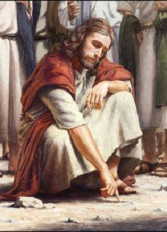 Jesus abaixou-se e escrevia com o dedo no chão, como se não os tivesse ouvido. Então, quando eles continuaram perguntando-lhe, endireitou-se, e disse-lhes: Aquele que estiver sem pecado entre vós, seja o primeiro que atire pedra contra ela. E, tornando a inclinar-se, escrevia na terra. João 8: 3-8
