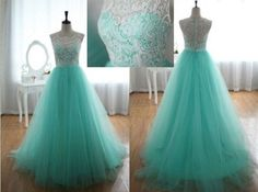 Turquoise Floor Length Prom Dresses Lace Overlay Vintage A Line Prom Gowns
