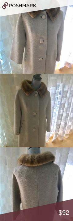 Cream Coat with Mink Fur Vintage Cream Coat with Mink Fur. Size medium. Jackets & Coats