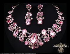 Pink Bridal Jewelry Set, Crystal Statement Necklace Earrings, Vintage Style Bridal Necklace, Bridal Earrings, Wedding Necklace Set