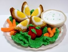 crochet food | HAPPY HOLIDAYS SALE - Crochet Food Pattern - Scotch Eggs Meal Set