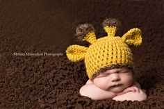 Crochet Newborn Giraffe  Beanie Hat - Photography Prop  - Yellow Animal Hat Photo Prop. $25.00, via Etsy.