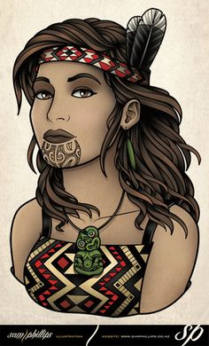 Sam Phillips Illustration of a maori girl in kapa haka costume Hawaiian Tribal Tattoos, Samoan Tribal, Filipino Tribal, Maori Designs, Tattoo Designs, Sam Phillips, Zealand Tattoo, Polynesian Art, Polynesian Tattoos