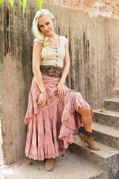 CHERISE LINEN SKIRT Steampunk Bohemian Burning by TimjanDesign
