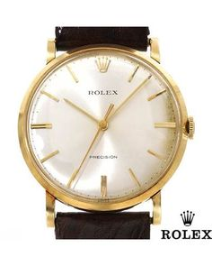 ROLEX Made in Switzerland 18K Yellow Gold and Leather Watch  Men #Jewelry