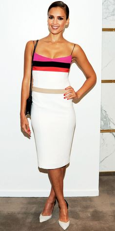 Alba hosted a lunch with Narciso Rodriguez in the designer's colorblock sheath, black bag and pointy-toe pumps.
