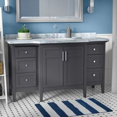 "Andover Mills™ Clean-lined design meets sophisticated style to round out this 60"" wide single vanity set, crafted from wood. This vanity showcases an Italian Carrara marble top, outfitted with a ceramic under-mount sink. Six drawers and an interior shelf give this design ample storage space to stow facecloths, hand soaps, and other bathroom essentials. Molded geometric details add a dash of dimension to this vanity, while brushed nickel handles complement the solid finish, available in…"