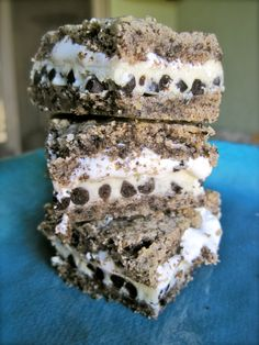 Gooey Cookies and Cream Bars, stacked