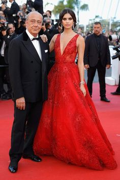 Sara Sampaio with Zuhair Murad attends the Cannes Film Festival 2017