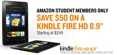$50 Off Kindle Fire HD 8.9″ Android Tablet for Amazon Student Prime Members – EXP 1/31/2013