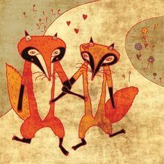 FOXES IN LOVE art print // cute fox illustration por schalleszter