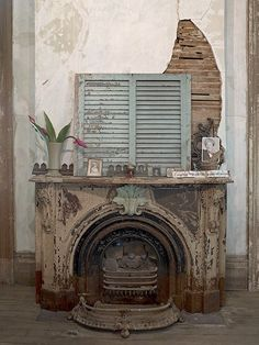 Rear Downstairs Parlor Mantle with Katrina Waterline, old but still beautiful